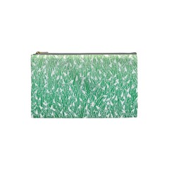 Green Ombre feather pattern, white, Cosmetic Bag (Small)