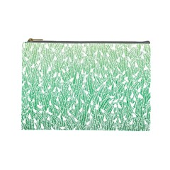 Green Ombre feather pattern, white, Cosmetic Bag (Large)