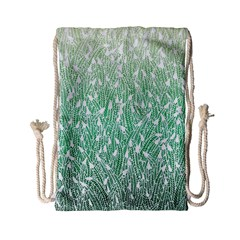 Green Ombre Feather Pattern, White, Drawstring Bag (small)