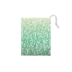Green Ombre feather pattern, white, Drawstring Pouch (XS)