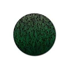 Green Ombre feather pattern, black, Rubber Coaster (Round)