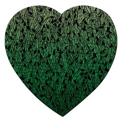 Green Ombre feather pattern, black, Jigsaw Puzzle (Heart)