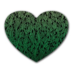 Green Ombre feather pattern, black, Heart Mousepad