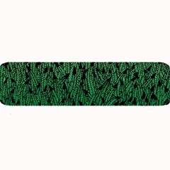 Green Ombre feather pattern, black, Large Bar Mat