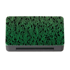 Green Ombre feather pattern, black, Memory Card Reader with CF