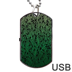 Green Ombre Feather Pattern, Black, Dog Tag Usb Flash (two Sides)