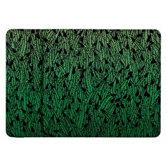 Green Ombre feather pattern, black, Samsung Galaxy Tab 8.9  P7300 Flip Case