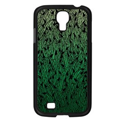 Green Ombre feather pattern, black, Samsung Galaxy S4 I9500/ I9505 Case (Black)