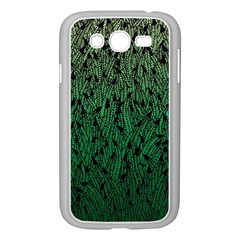 Green Ombre feather pattern, black, Samsung Galaxy Grand DUOS I9082 Case (White)