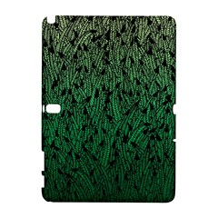Green Ombre feather pattern, black, Samsung Galaxy Note 10.1 (P600) Hardshell Case
