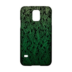 Green Ombre feather pattern, black, Samsung Galaxy S5 Hardshell Case