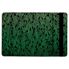 Green Ombre feather pattern, black, Apple iPad Air 2 Flip Case
