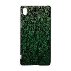 Green Ombre feather pattern, black, Sony Xperia Z3+ Hardshell Case