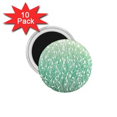 Green Ombre feather pattern, white, 1.75  Magnet (10 pack)