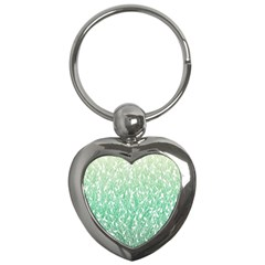 Green Ombre feather pattern, white, Key Chain (Heart)