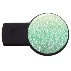 Green Ombre feather pattern, white, USB Flash Drive Round (2 GB)