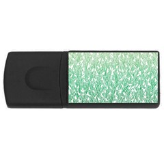 Green Ombre feather pattern, white, USB Flash Drive Rectangular (1 GB)