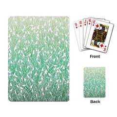Green Ombre feather pattern, white, Playing Cards Single Design