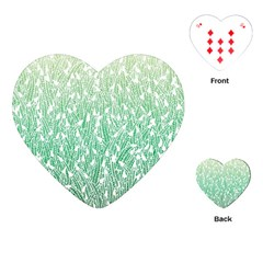 Green Ombre Feather Pattern, White, Playing Cards (heart)