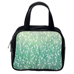 Green Ombre feather pattern, white, Classic Handbag (One Side)
