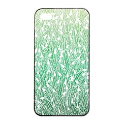 Green Ombre feather pattern, white, Apple iPhone 4/4s Seamless Case (Black)