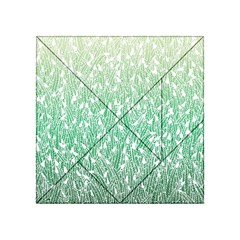 Green Ombre feather pattern, white, Acrylic Tangram Puzzle (4  x 4 )