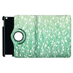 Green Ombre Feather Pattern, White, Apple Ipad 2 Flip 360 Case
