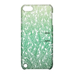 Green Ombre feather pattern, white, Apple iPod Touch 5 Hardshell Case with Stand