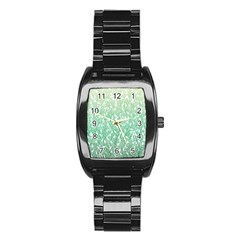 Green Ombre feather pattern, white, Stainless Steel Barrel Watch