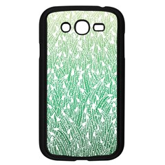 Green Ombre feather pattern, white, Samsung Galaxy Grand DUOS I9082 Case (Black)