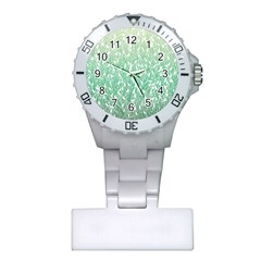 Green Ombre feather pattern, white, Plastic Nurses Watch