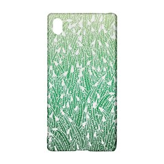 Green Ombre feather pattern, white, Sony Xperia Z3+ Hardshell Case