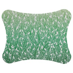 Green Ombre Feather Pattern, White, Jigsaw Puzzle Photo Stand (bow)