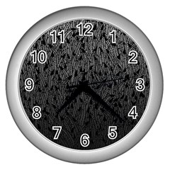 Grey Ombre feather pattern, black, Wall Clock (Silver)