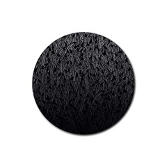 Grey Ombre feather pattern, black, Rubber Coaster (Round)