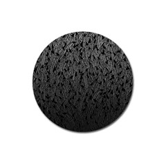 Grey Ombre feather pattern, black, Magnet 3  (Round)