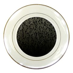 Grey Ombre feather pattern, black, Porcelain Plate