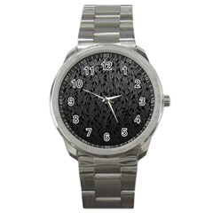 Grey Ombre feather pattern, black, Sport Metal Watch