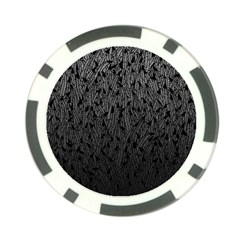 Grey Ombre feather pattern, black, Poker Chip Card Guard (10 pack)
