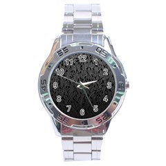 Grey Ombre feather pattern, black, Stainless Steel Analogue Watch