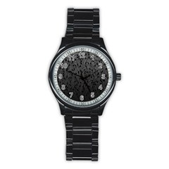 Grey Ombre feather pattern, black, Stainless Steel Round Watch