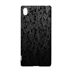 Grey Ombre feather pattern, black, Sony Xperia Z3+ Hardshell Case