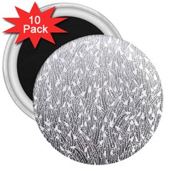 Grey Ombre feather pattern, white, 3  Magnet (10 pack)