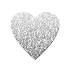 Grey Ombre feather pattern, white, Magnet (Heart)