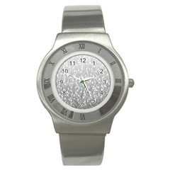 Grey Ombre feather pattern, white, Stainless Steel Watch