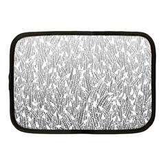 Grey Ombre feather pattern, white, Netbook Case (Medium)