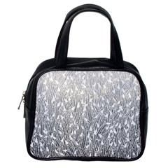 Grey Ombre feather pattern, white, Classic Handbag (One Side)