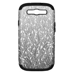 Grey Ombre feather pattern, white, Samsung Galaxy S III Hardshell Case (PC+Silicone)
