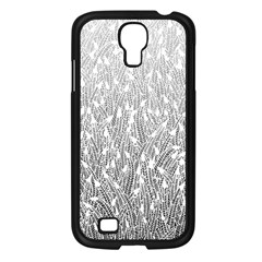Grey Ombre feather pattern, white, Samsung Galaxy S4 I9500/ I9505 Case (Black)