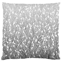 Grey Ombre feather pattern, white, Large Cushion Case (Two Sides)